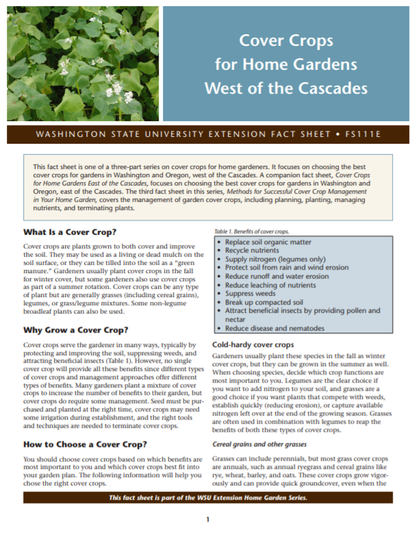 Cover Crops for Home Gardens West of the Cascades (Home Garden Series), FS111E_cover snip