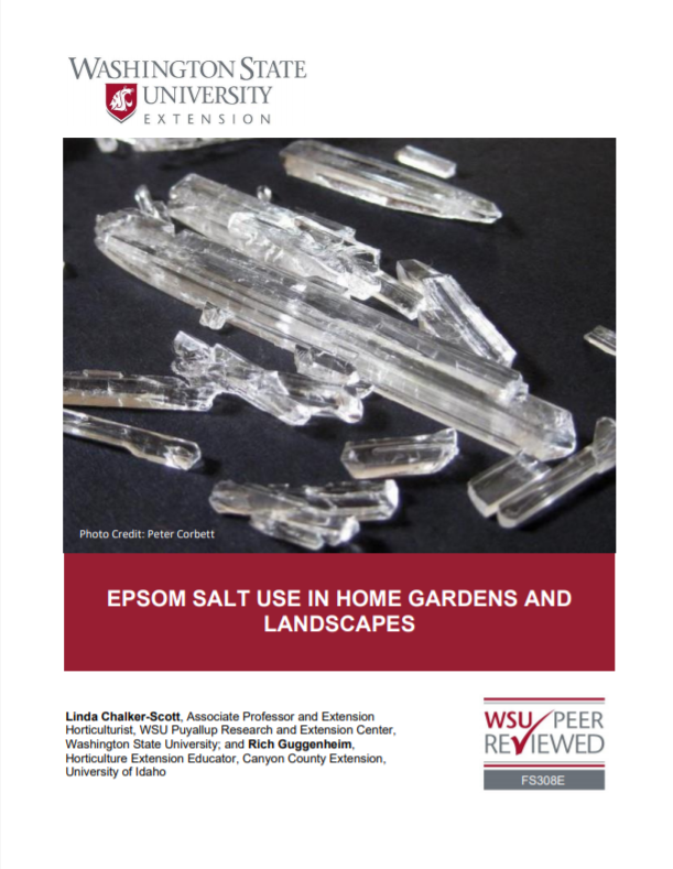 Epsom Salt Use in Home Gardens and Landscapes, FS308E brochure cover