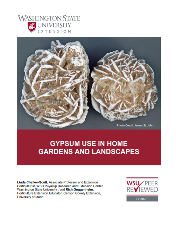 Gypsum Use in Home Gardens and Landscapes, FS307E brochure cover