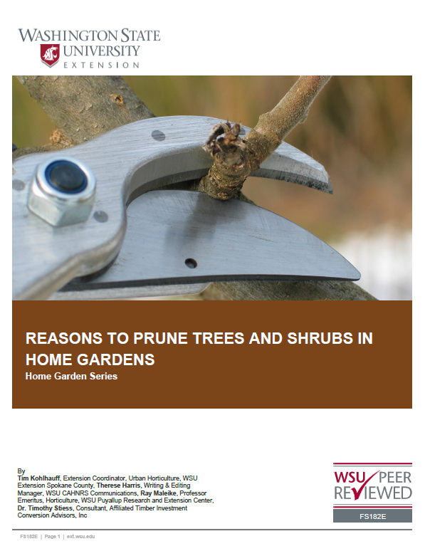 Home Pruning-Reasons to Prune Trees and Shrubs (Home Gardening Series) FS182E brochure cover