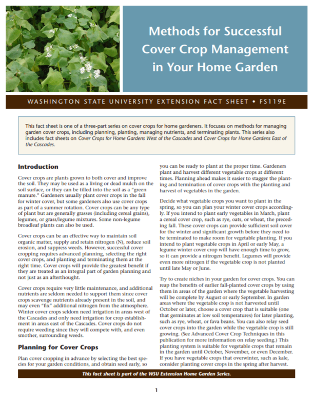 Methods for Successful Cover Crop Management in Your Home Garden (Home Garden Series), FS119E brochure cover snip