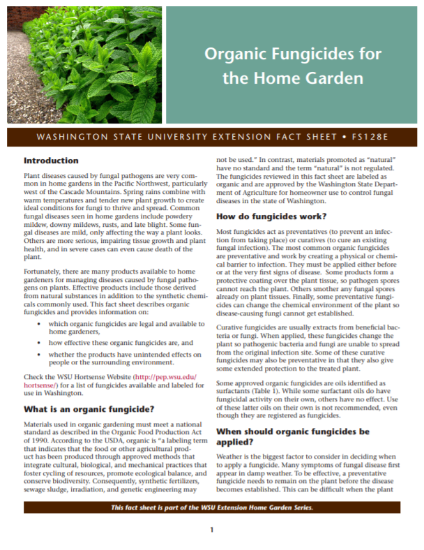 Organic Fungicides for the Home Gardener (Home Garden Series), FS128E brochure cover