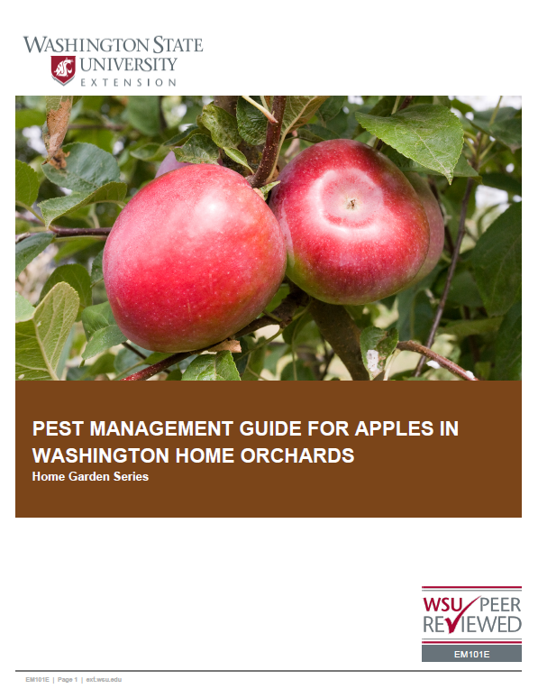 Pest Management Guide for Apples in Washington Home Orchards, EM101E, cover with two ripe red apples on a tree