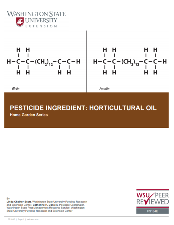 Pesticide Ingredient-Horticultural Oil (Home Garden Series), FS184E brochure cover