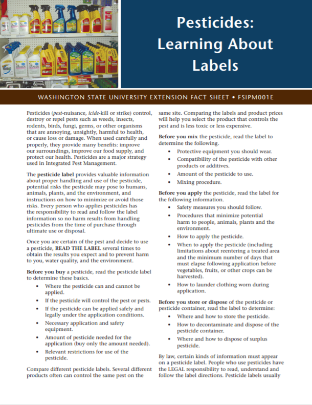Pesticides-Learning About Labels, FSIPM001E brochure coverPesticides-Learning About Labels, FSIPM001E brochure cover