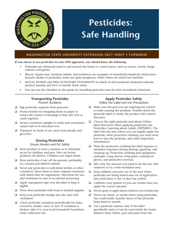 Pesticides-Safe Handling, FSIPM002E brochure cover