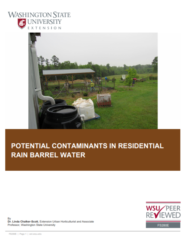 Potential Contaminants in Residential Rain Barrel Water (Home Garden Series), FS280E_cover snipPotential Contaminants in Residential Rain Barrel Water (Home Garden Series), FS280E brochure cover
