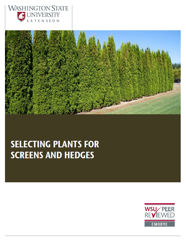 Selecting Plants for Screens and Hedges (Home Garden Series) brochure cover