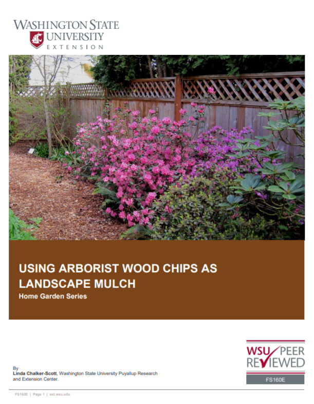 Using Arborist Wood Chips as a Landscape Mulch (Home Garden Series), FS160E brochure cover snip