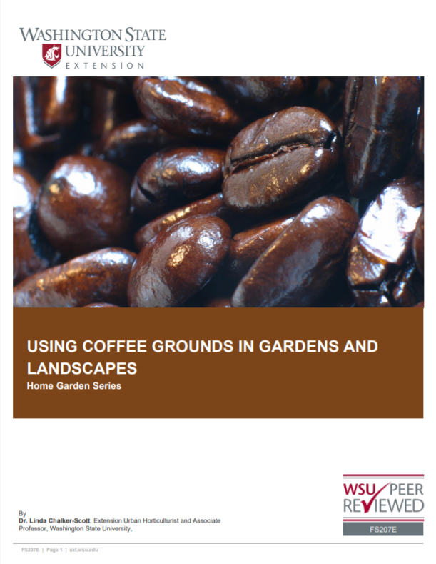 Using Coffee Grounds in Gardens and Landscapes (Home Garden Series), FS207E brochure cover