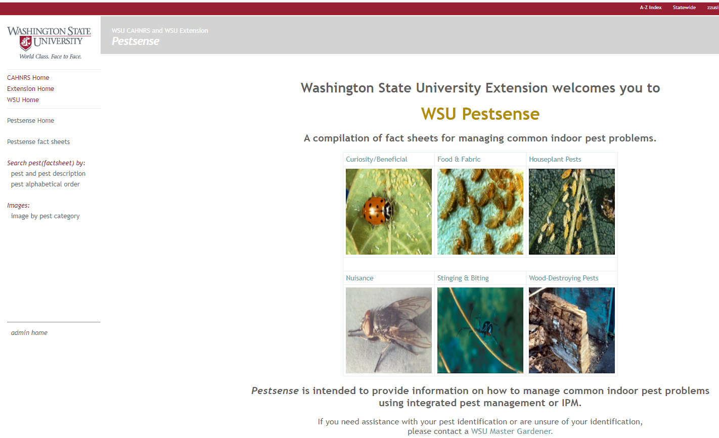 WSU Pestsense home page