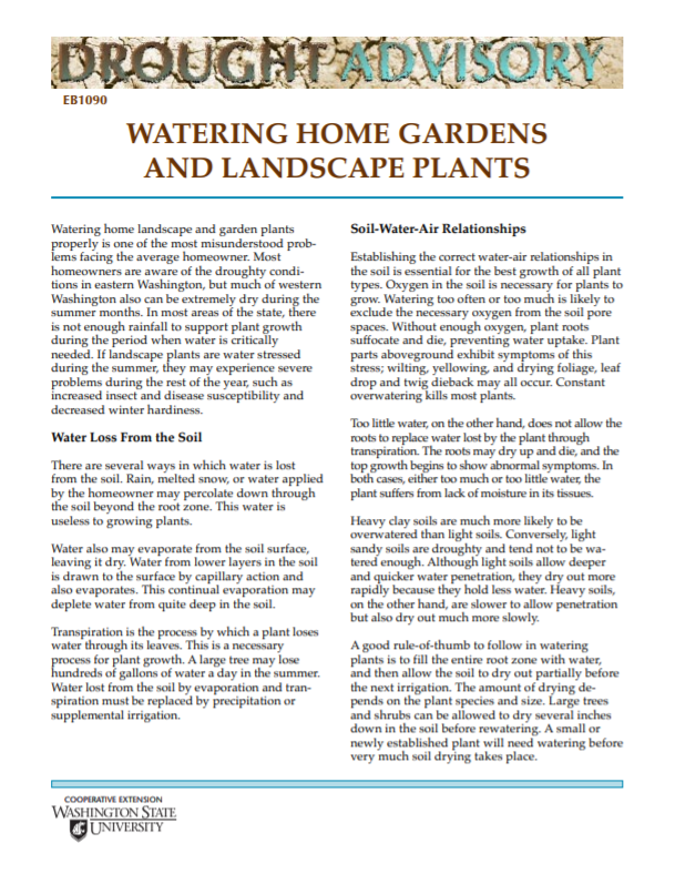 Watering Home Gardens and Landscape Plants, EB1090_cover snip