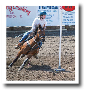 Girl racing horse