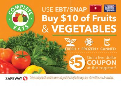 Complete Eats stir fry recipe card front - buy $10 fruits and veggies at Safeway with your EBT-SNAP card, get $5 coupon for fruits and veggies