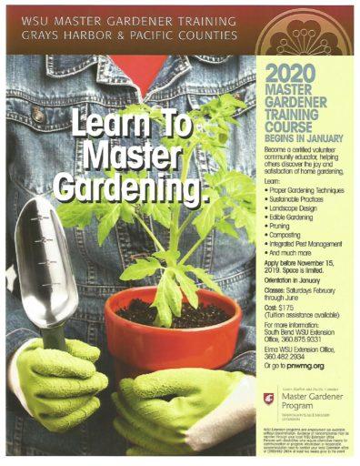 Master Gardener Training announcement for winter-spring 2020 training to become a Master Gardener Volunteer