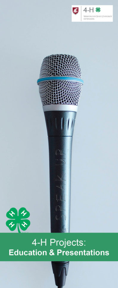 4-H Projects: Education & Presentations with an image of a microphone.