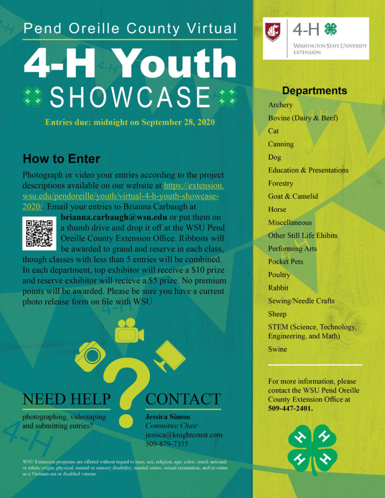 Pend Oreille County Virtual 4-H Youth Showcase flyer. Entries are due on September 28, 2020 at midnight.