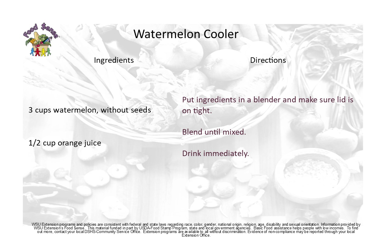 Watermelon Cooler Drink recipe card.