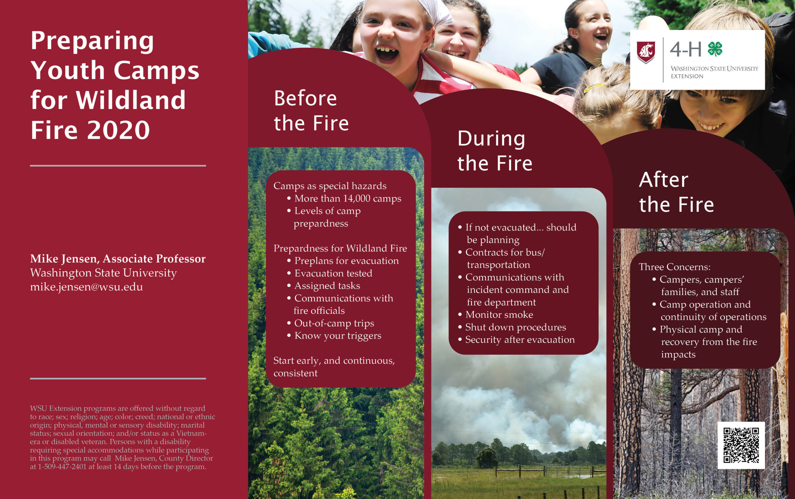 Preparing Youth Camps for Wildland Fire 2020 poster