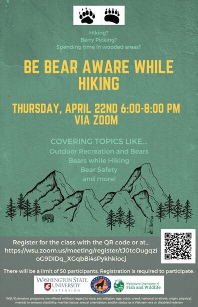 Bear Aware While Hiking Flyer. Includes dates and QR Code to register