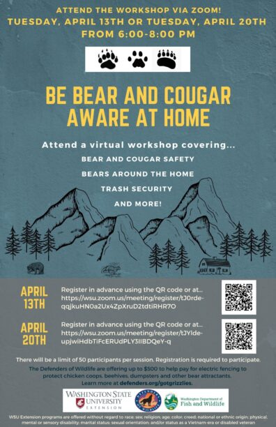 Bear Aware at Home Flyer, includes dates and QR code to register