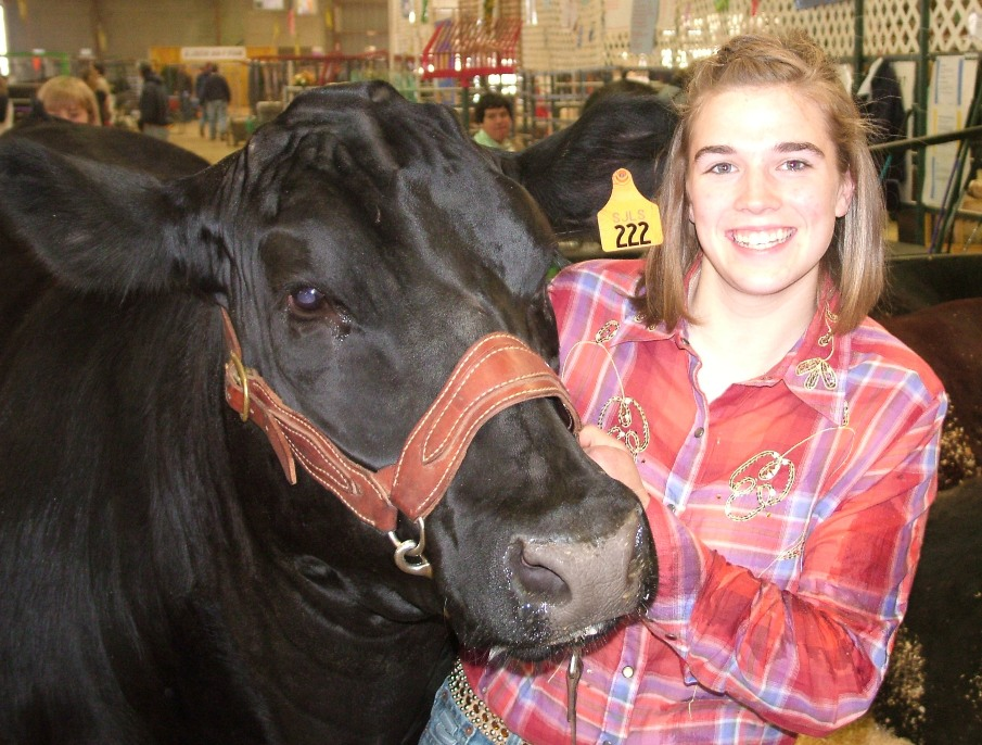 A smiling girl in a red and purple plaid shirt holds onto the harness of a large black steer.