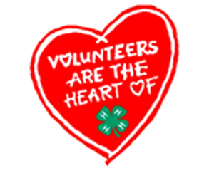 Volunteer Heart that says volunteers are the heart of 4-H