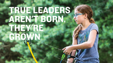 Child participating in archery says true leaders aren't born, the're grown.