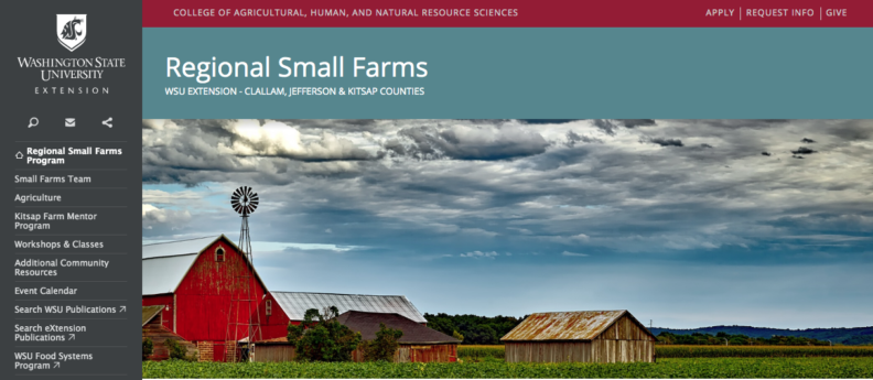 Screen shot of the new regional small farms program website that links to it
