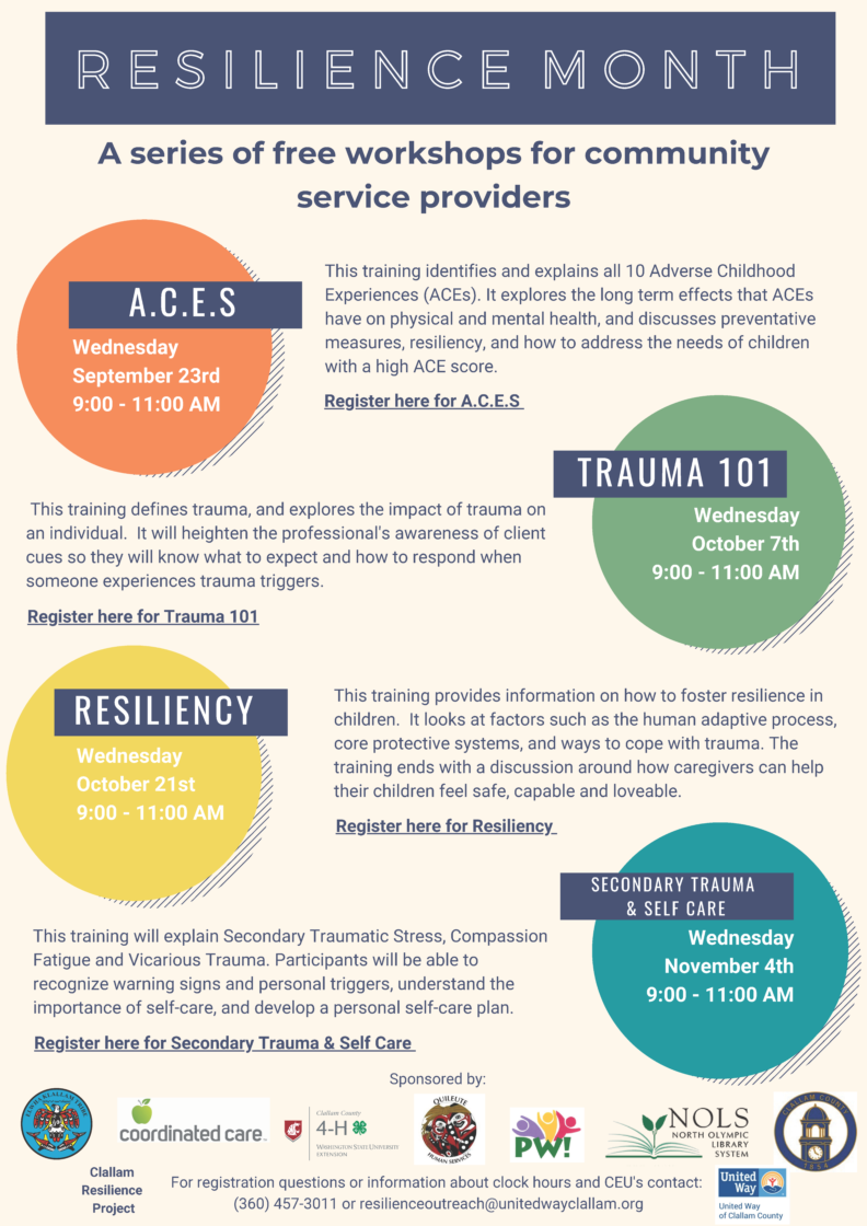 flyer describing upcoming resilience trainings
