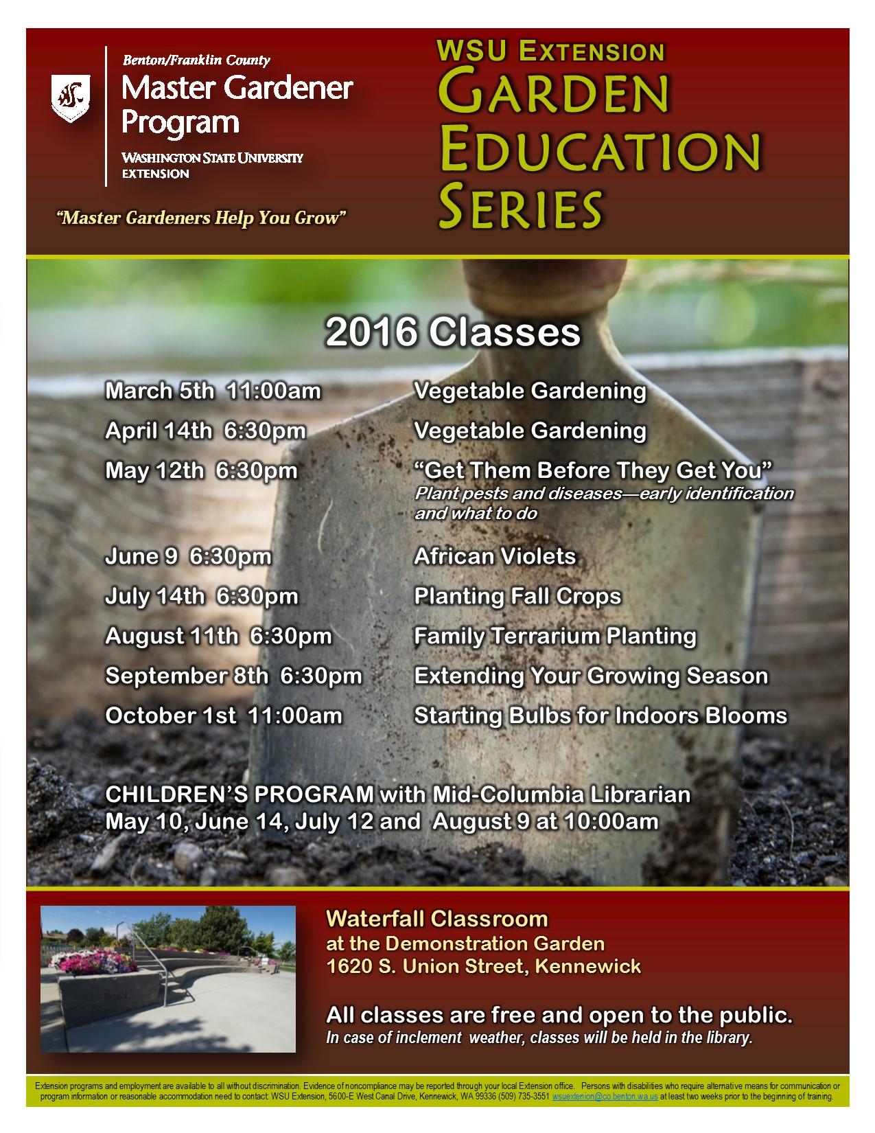 Garden Education Series Class Schedule