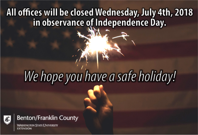 All offices will be closed Wednesday, July 4, 2018 in observance of Independence Day. We hope you have a safe holiday!