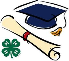 4-H clover, rolled scroll, graduation cap