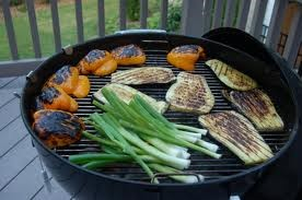 Vegetables on a charcoal grill