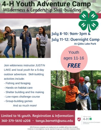 4-H Youth Adventure Camp   Jefferson County   Washington