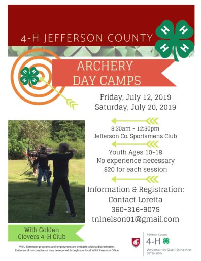 4-H Archery Camp 2019. More information at tnlnelson01@gmail.com.