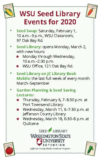 poster for seed library events, has many dates listed