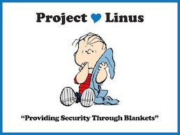 Peanuts character Linus holds a blue blanket