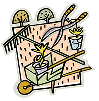 Stylized artwork depicting wheelbarrow, rake, clippers, trees, potted plants, and garden plot as the background.