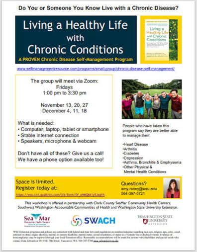 Downsized flyer and PDF link for Living a Healthy Life with Chronic Conditions classes.