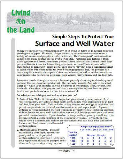 Link to pdf on Simple Steps to protect your Surface and well water