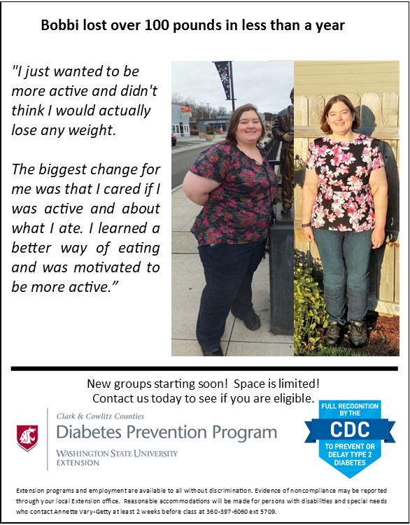 """Bobbi lost over 100 pounds in less than a year. """"I just wanted to be more active and didn't think I would actually lose any weight,"""" said Bobbi. """"The biggest change for me was that I cared if I was active and about what I ate. I learned a better way of eating and was motivated to be more active."""" New groups starting soon! Space is limited! Contact us today to see if you are eligible."""