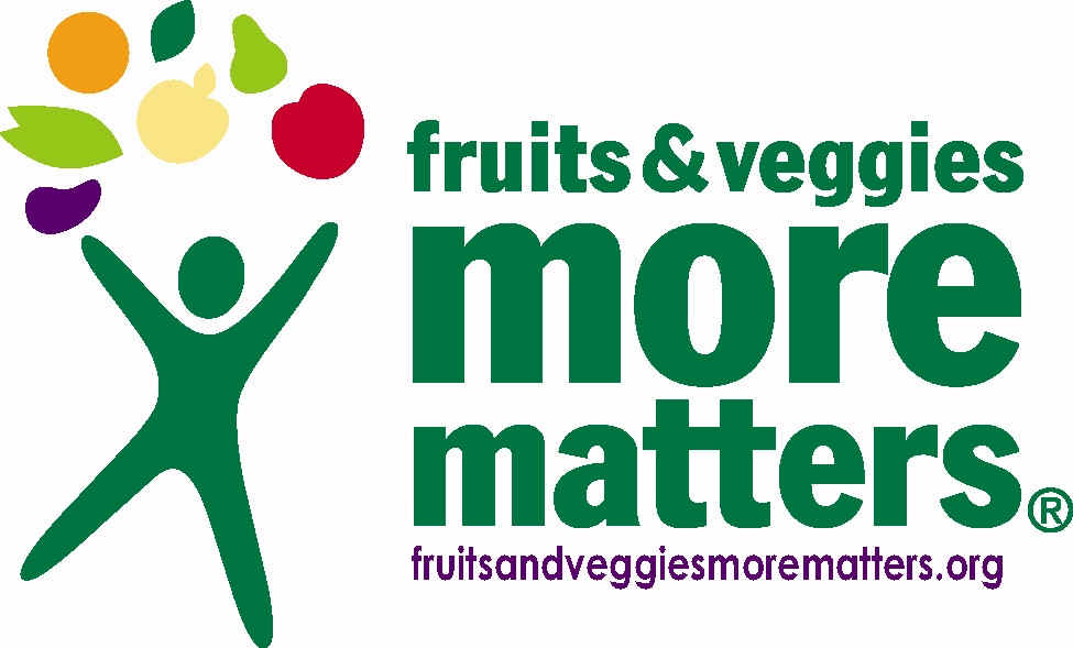 Fruits and Veggies More Matters logo--stylized stick figure with colorful fruits and vegetables.