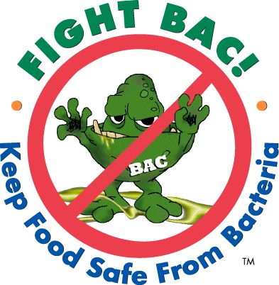 "Fight BAC logo: a green germ with a red X through it, with the words, ""Fight BAC: Keeping Food Safe from Bacteria"""