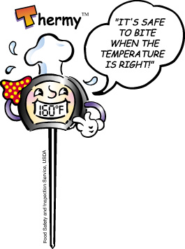 """Thermy, a thermometer wearing a chef's hat, telling us that """"It's safe to bite when the temperature is right!"""""""