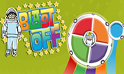 "Blast Off Game--an astronaut fuels up his ""MyPlate"" spaceship with healthy foods."