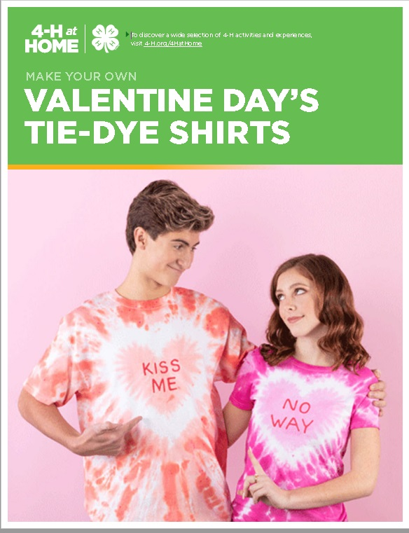 Boy and girl with tie dye shirts says Kiss Me and No Way