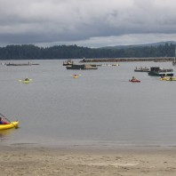 4-H members learning to kayak on the water