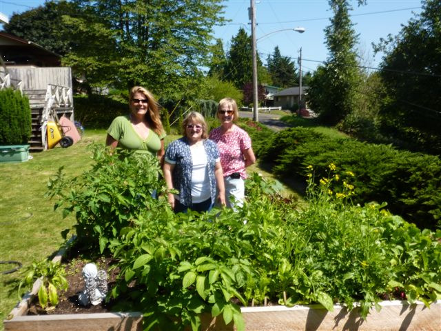 Master Gardeners standing next to a raised bed.