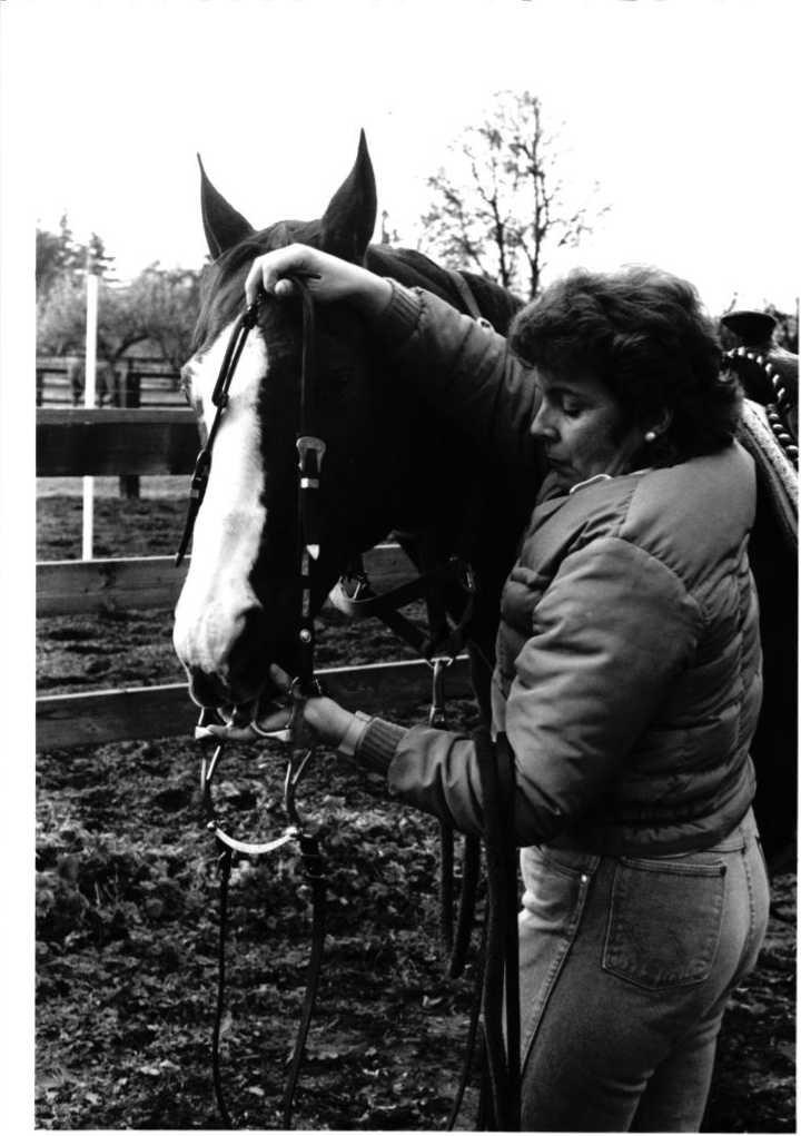 Jennifer Leach with a horse.